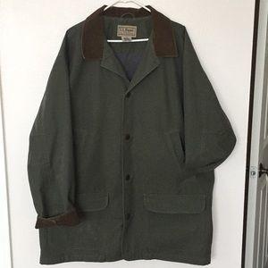 Men's LL Bean Olive Field Jacket Corduroy Trim